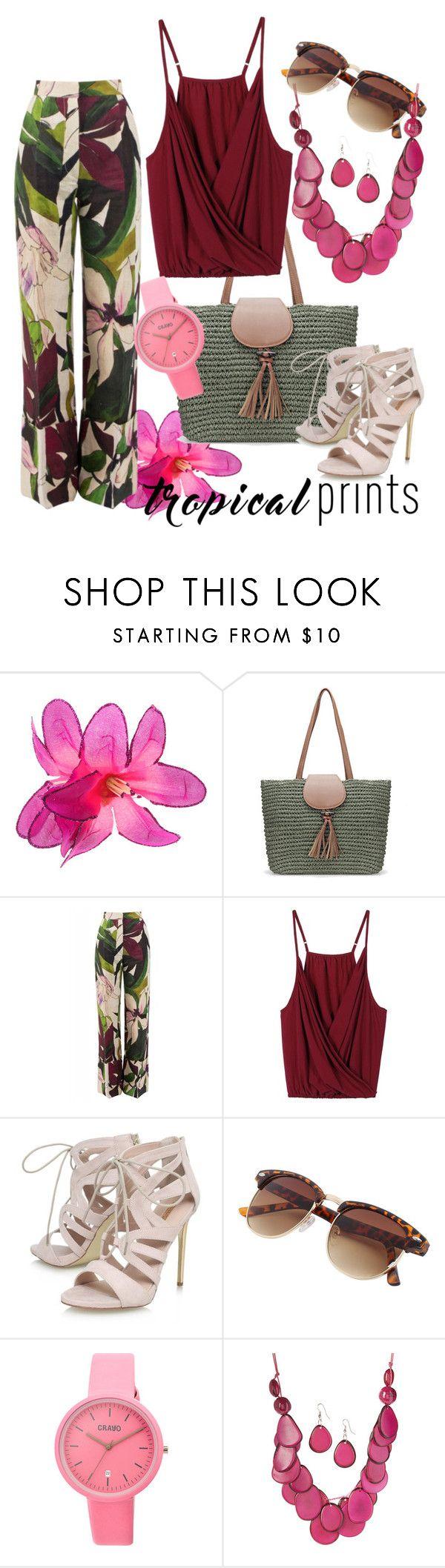 """Hot Tropics"" by ilsedut ❤ liked on Polyvore featuring Erika Cavallini Semi-Couture, Carvela, Crayo, tropicalprints and hottropics"