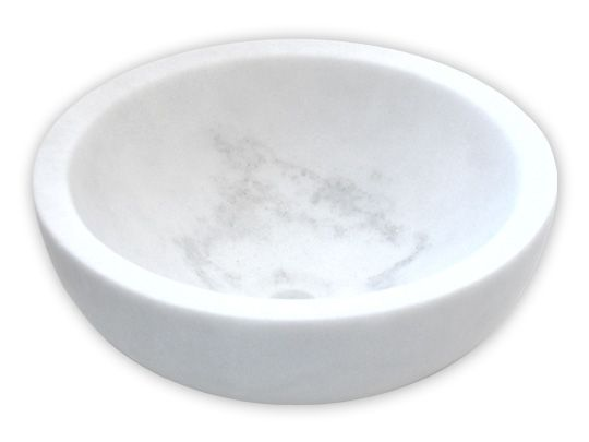 Marble Sinks | Natural Stone Vessels-Small Vessel Sink Bowl - Honed White Marble