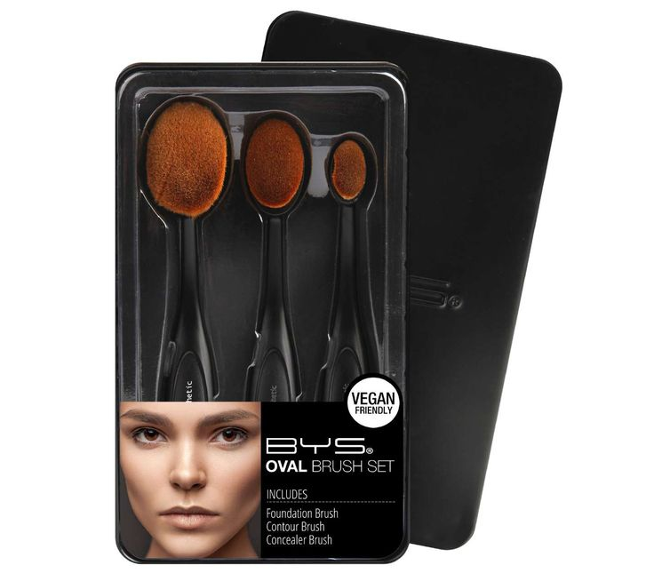 OVAL BRUSH TRIO IN KEEPSAKE TIN  Packaged in a collectable BYS tin - new generation, hi-tech makeup brushes to blend makeup and achieve an airbrushed finish everytime.  Includes bonus step-by-step tutorial  Available in all Cosmetics Plus stores. See location: cosmeticsplus.com.au