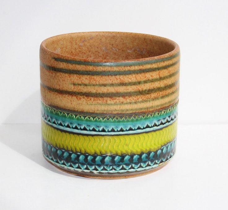 Mid Century Italian Bitossi Art Pottery Planter / Terra Blue Green Glaze Sgraffito Design / Raymor Rosenthal Netter Era