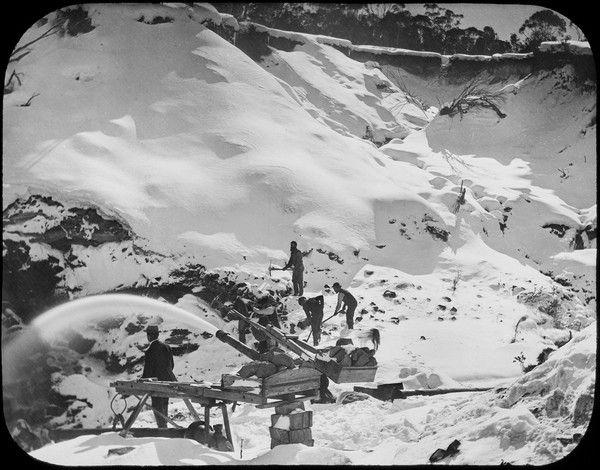 Hydraulic sluicing and miners at New Chum Hill, Kiandra (90 km north-west of Cooma), in winter snow #FlashbackFriday