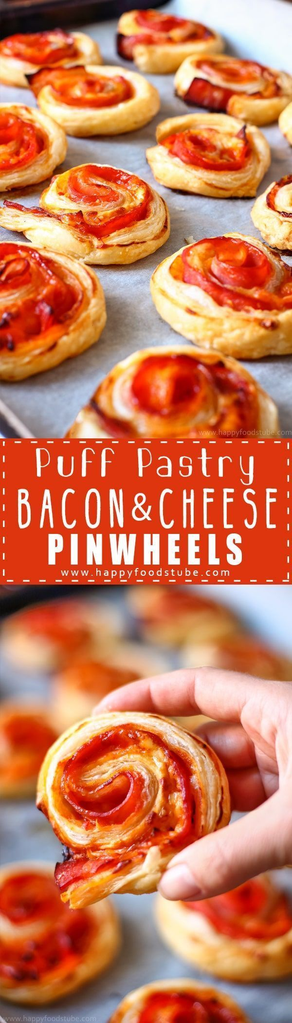 Puff Pastry Bacon Pinwheels with Cheddar ~ Easy and fast Puff Pastry Bacon Pinwheels with Cheddar Cheese. Homemade party food ideas. Perfect for parties and family gatherings. Only 5 ingredient and ready in 25 minutes via @happyfoodstube
