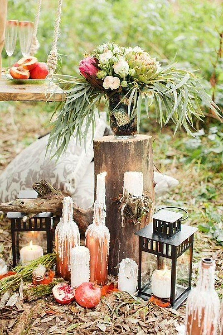 Бутылки в декоре свадебной фотозоны