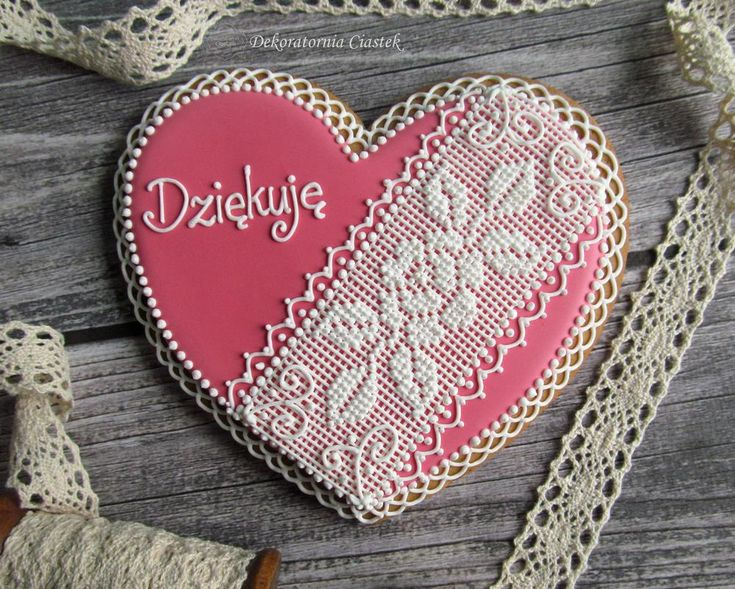 Heart with needlepoint lace, 'Thank You' in Polish, by Barbara Anna Foss