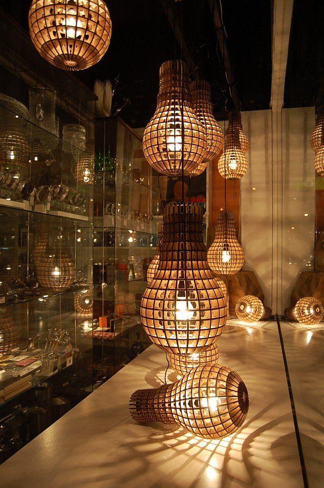 Laser cut plywood light bulb lamp
