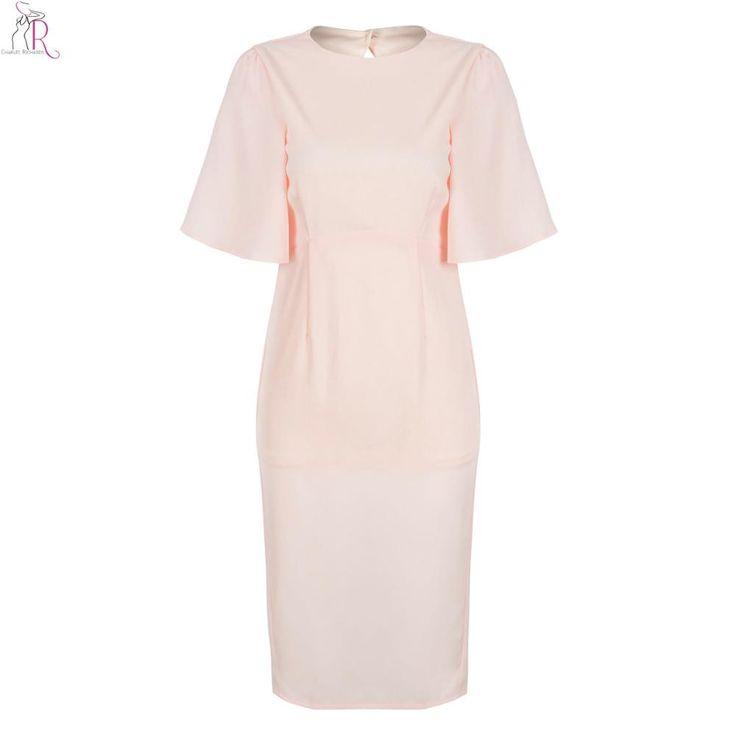 Pink Ruffled Half Sleeve Midi Bodycon Dress Sheath Casual Cut Out Back Sexy Streetwear Women Summer