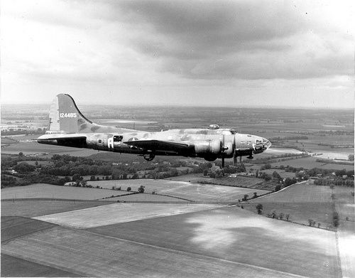 "B-17 ""THE MEMPHIS BELLE"". ENGLAND: AIRPLANES, MEMPHIS BELLE The Boeing B-17 ""The Memphis Belle"" is pictured on her way back to the United States after completing 25 missions from an airbase in England. 9 June 1943."