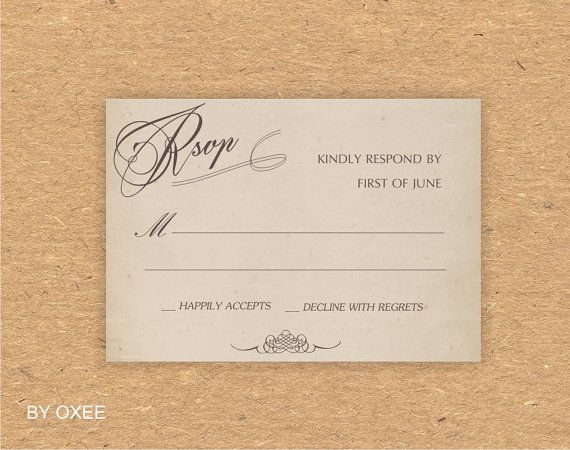 Printable wedding RSVP card template Vintage paper pattern by Oxee