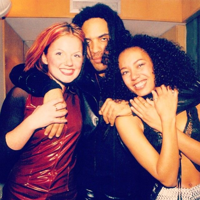 """""""Geri and Mel B with Lenny Kravitz in early 1996, whilst the group were recording the Spice album in London! ✌️ #spicegirls #spice #Ginger #Scary…"""""""