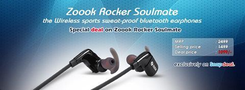 """Special #deal on #Zoook Rocker Soulmate - The Wireless sports sweat-proof bluetooth earphones by Snapdeal. (Specially for running,gymming, jogging, exercising with Deep bass and Ear stabilisers for extra comfortable grip) MRP: 2499 Regular selling price:1499 Deal price: 1099 Buy Link : http://goo.gl/GJqVOc  Hurry before the deal is gone! Enjoy your favourite music wire free, now sweat hard with High punchy bass. http://goo.gl/GJqVOc"""