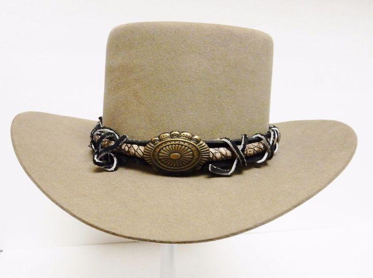 Vtg STETSON 4X Beaver Hat Western Cowboy Felt Reptile Concho Rawhide Band 6 5/8 #Stetson #Western