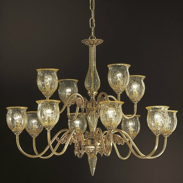 Stunning Two tier 12 lights #chandelier made using amber crackle glass shades #light #design