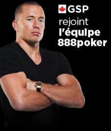 ATTENTION CANADIAN POKER PLAYERS - $5,000 FREEROLL TOURNAMENT IN 90 MINUTES!  To celebrate George St. Pierre joining 888 poker is holding a $5,000 poker tournament with FREE entry for Canadians!  SIGN UP NOW THRU MY BLOG AND YOU WILL ALSO GET 8 DOLLARS FREE.  No deposit needed, No credit card required.  See you at the tournament and BON CHANCE.