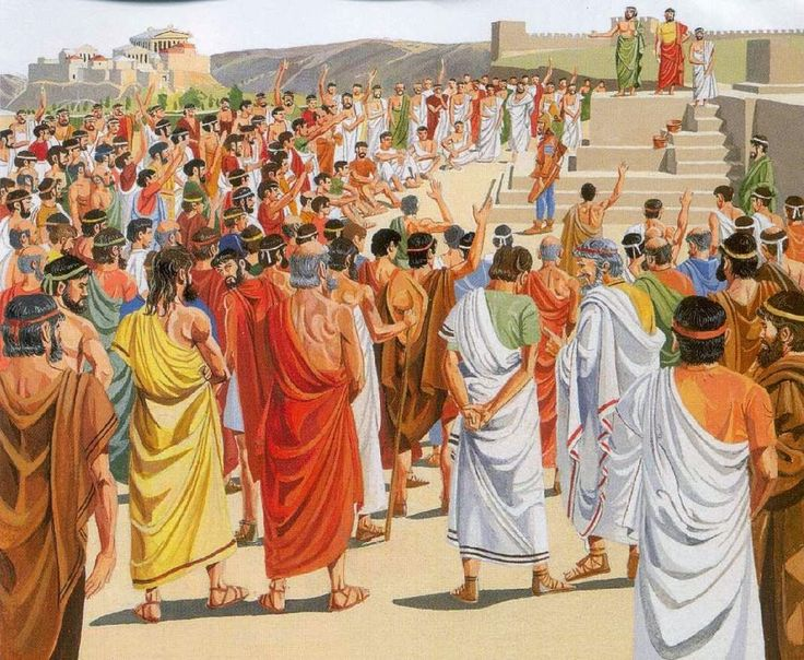 Hombres participando en democracia ateniense