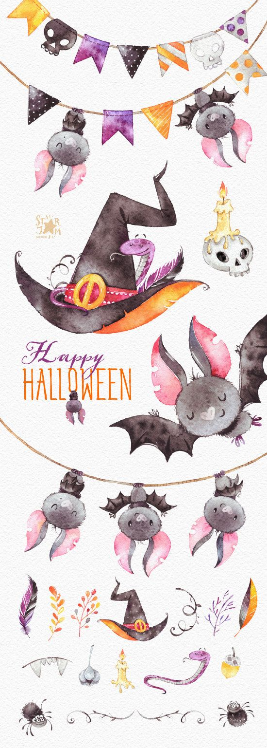 Happy Halloween. Watercolor clipart bat witch hat snake