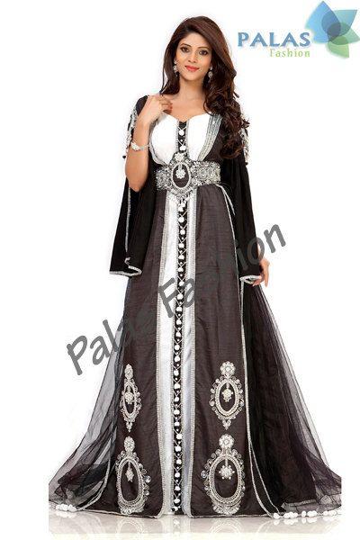 Black Moroccan Kaftan Dress Fancy Dubai Caftan by PalasFashion