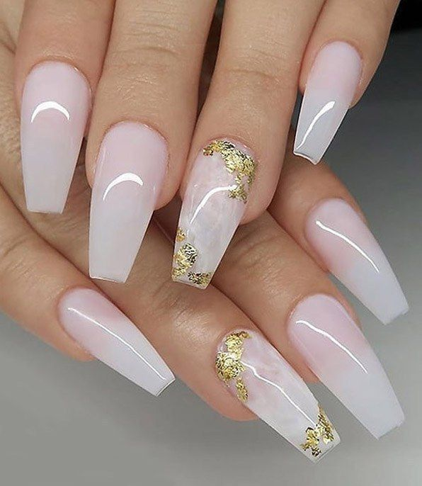 Milky White With Gold Foil On Coffin Nails For Every Girls White Acrylic Nails Gorgeous Nails Foil Nails