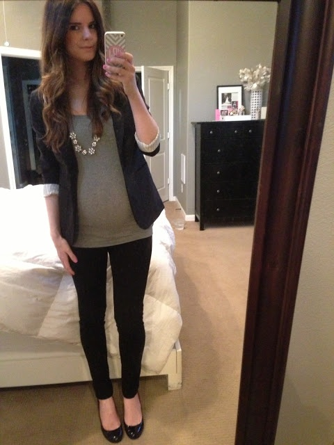 Work Outfit: Slim black pants, grey tank, black blazer