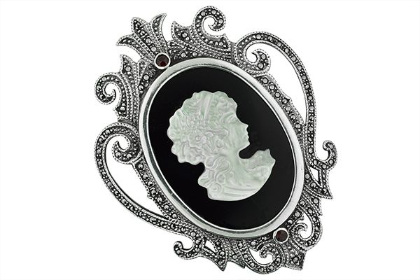 Sterling-Silver-Victorian-Marcasite-Cameo-Pendant-and-Broach