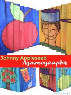 "Johnny Appleseed Agamographs. Try something new in class this year! This art activity is sure to be the talk of your school. Kids color, cut, fold and follow precise directions to create a project with a huge ""wow"" factor!  Johnny appleseed craft / activity like no other! Agamographs engage students and integrate art into the classroom with a contemporary flair!"