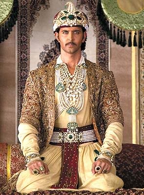 Hrithik Roshan as Mughal Emperor Akbar from Jodhaa Akbar. One of my favorite Bollywood movies.    (The Costumer's Guide to Movie Costumes)