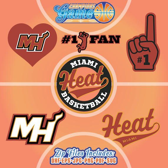 Miami calor SVG, archivo de baloncesto, monograma de Miami Heat, descarga inmediata de baloncesto, CG0016