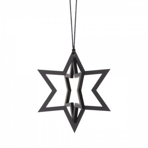 Stjerne i svart for å henge på en gren, juletre eller i vinduet.Mål: H 6,1 x B 7 cm.