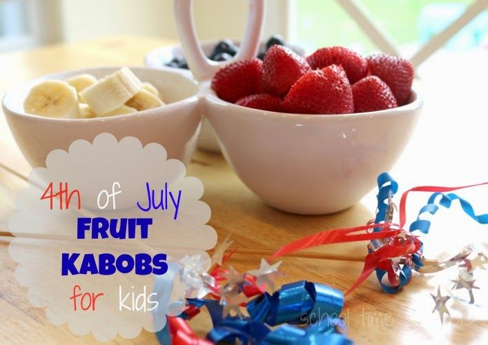 4th of July Fruit Kabobs for kids; festive and healthy snack for kids