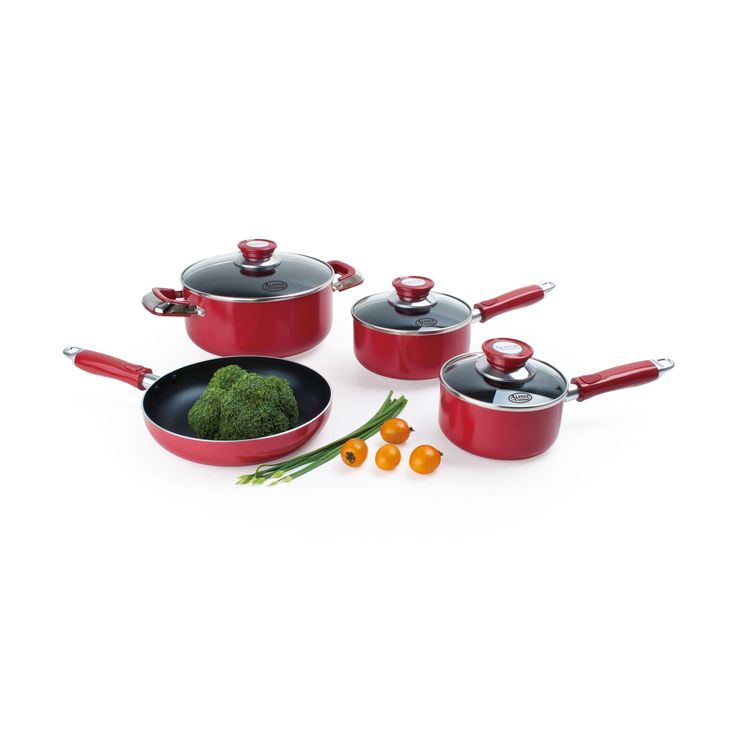Update your home with this seven-piece stainless steel cookware set with tempered glass lids and aluminum encapsulated bases. Finished in a modern red, you'll love functional style of this dishwasher safe cookware set.