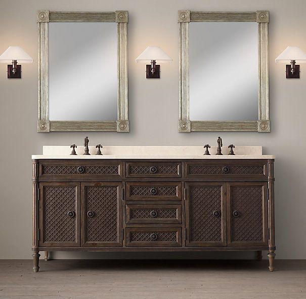 Louis xvi treillage double vanity sink from restoration hardware home decor pinterest for Home hardware bathroom vanities