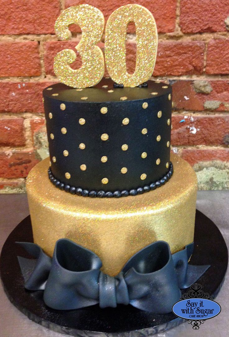 Gold glitter 30th birthday cake cakes by say it with for 30th birthday cake decoration