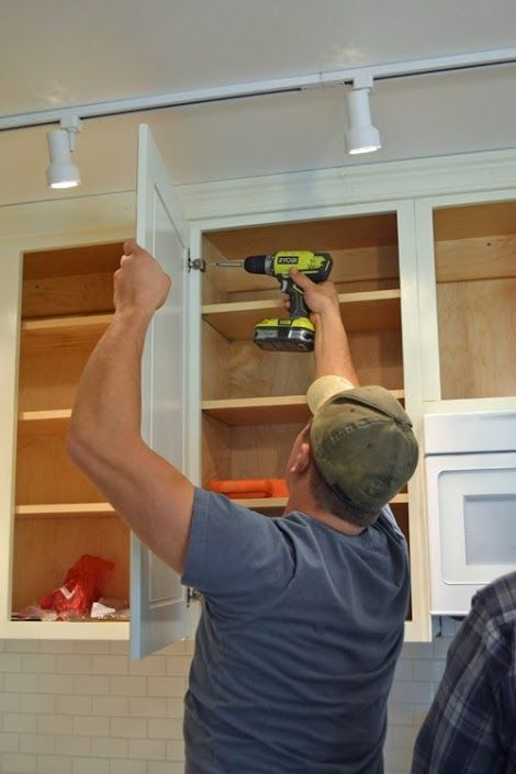 Hanging Kitchen Cabinet Doors with Concealed Euro Hinges - Momplex Vanilla Kitchen   Ana White