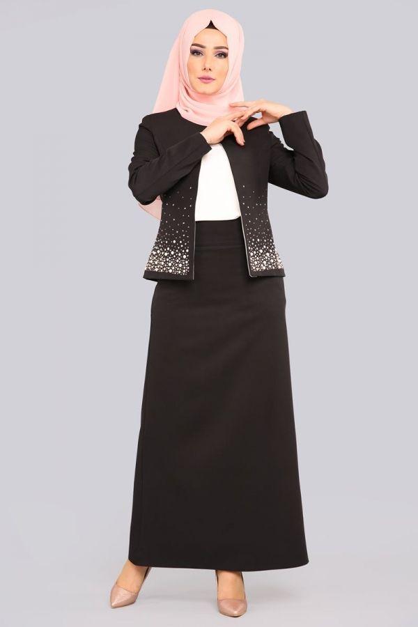 Ceketi Tasli Uclu Kombin Avz1159 5 Siyah Elbise Modelleri Elbise Kadin Modasi