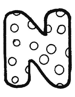 Dibujos de letras para colorear: N