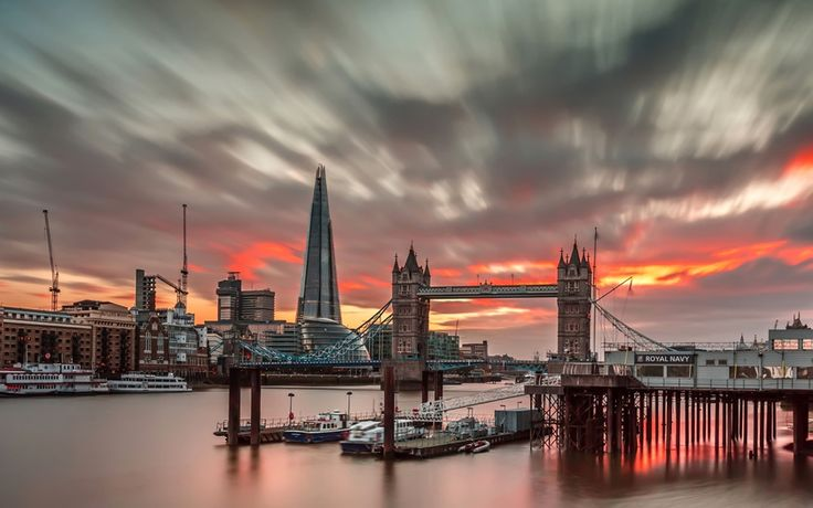 город, Лондон, набережная, река, корабли, причал, небо, облака