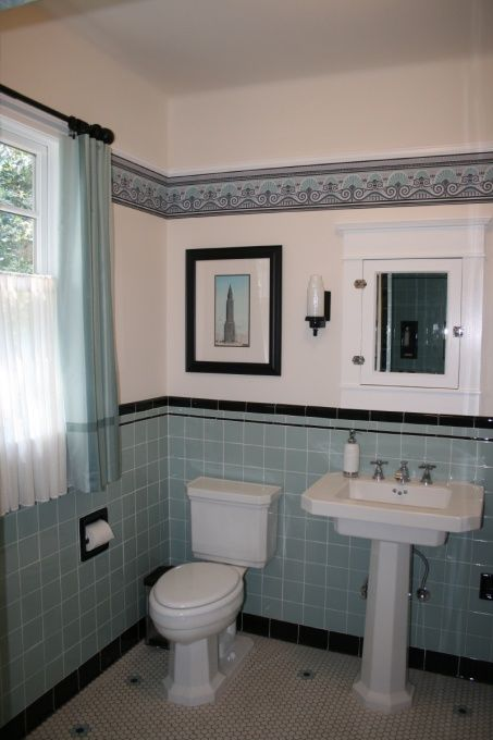 Aqua and Black Art Deco Cottage Bathroom, This is a bathroom in a new addition we had added to our 1940s cottage.  We kept the same basic feel as the older part of the house by using reproductions of fixtures from that era.  , Reproduction sink and toilet from the 1920s.  A little early for the age of the house, but I liked them.  Art deco side lights from Rejuvenation.    , Bathrooms Design