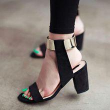 Livraison gratuite nouveaux été 2016 épaisses sandales à talons femmes mode femmes chaussures qualité du métal cuir nubuck talons hauts sandales(China (Mainland))