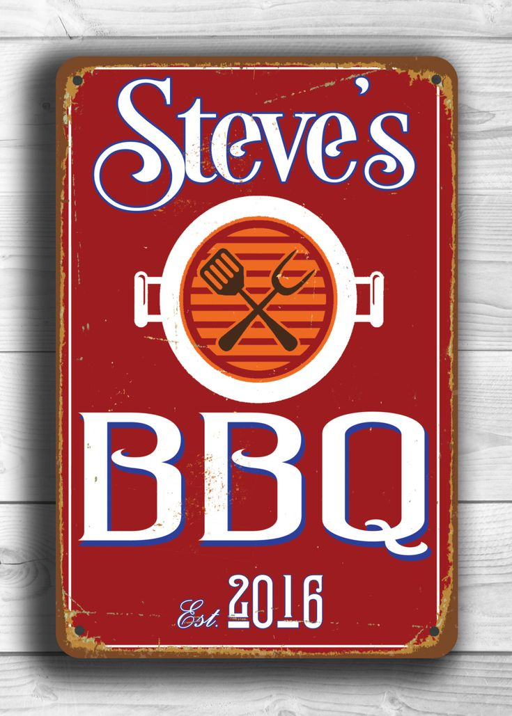 BBQ Sign Customizable Bar-b-que Sign-Vintage style Aluminum Comp metal BBQ Sign Grill Sign indoor or outdoor Bbq sign Ships Worldwide by ClassicMetalSigns on Etsy