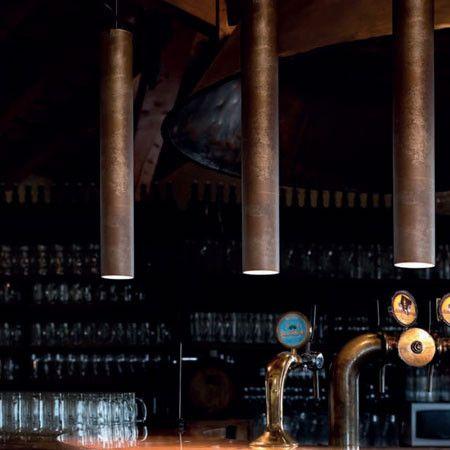 Iron or Brass Tubular Pendant Light - Made in Italy