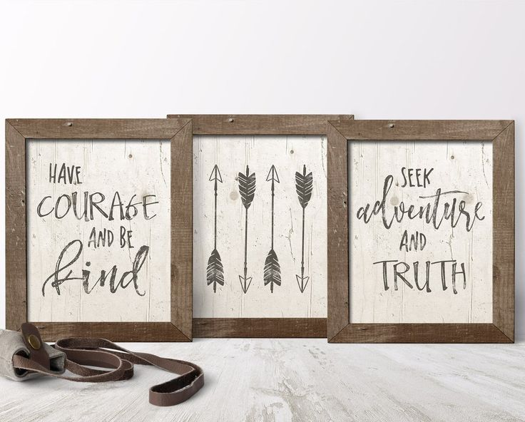 Have Courage And Be Kind Art Print Set by Sweetface & Co.  You are going to love this beautifully rustic print set for your baby boy's nursery!