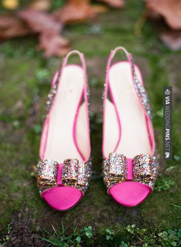 Like this - Pink Kate Spade Shoes With Glitter Bows   photography by   CHECK OUT MORE GREAT PINK WEDDING IDEAS AT WEDDINGPINS.NET   #weddings #wedding #pink #pinkwedding #thecolorpink #events #forweddings #ilovepink #purple #fire #bright #hot #love #romance #valentines #pinky