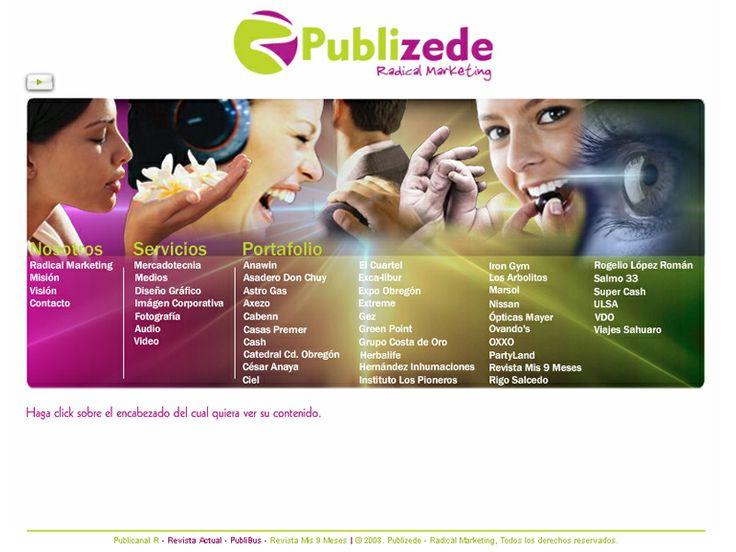 Re-diseño de Sitio Web para Agencia de Publicidad con galería de imágenes y audio interactivas y formulario de contacto.