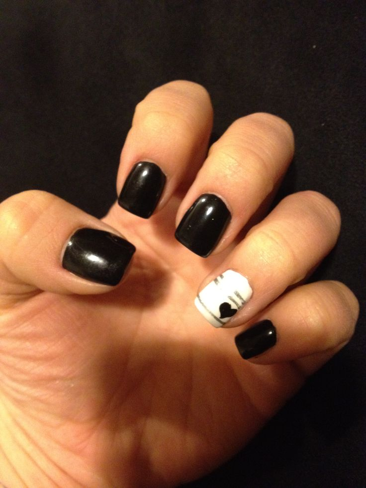 black nails. heart design. gel nails. - 104 Best Nails Images On Pinterest Cute Nails, Nail Design And Gel