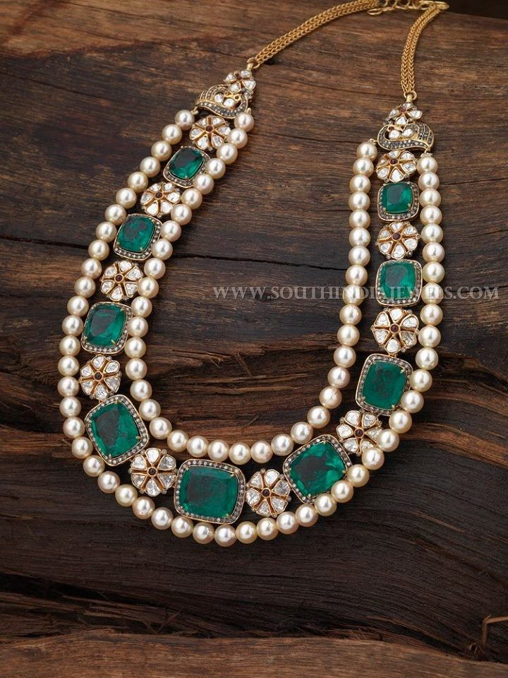 Gold Pearl Diamond Necklace Designs With Price. Gold Necklace Designs With Pearls and Diamonds.