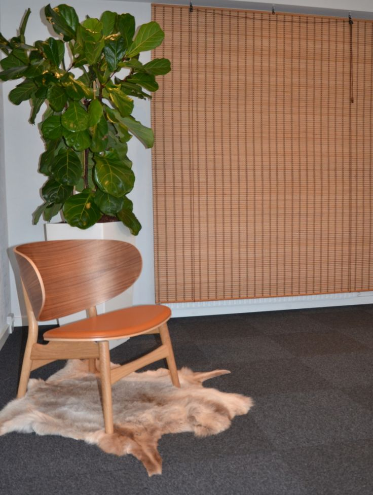 "Foyer byder velkommen med Hans Wegners Venus loungestol i valnød og lækker læder sæde, et retro bambusgardin skjuler en radiator - planter fra GamstDanplant. Jysk Indretning ""rum for mennesker"""