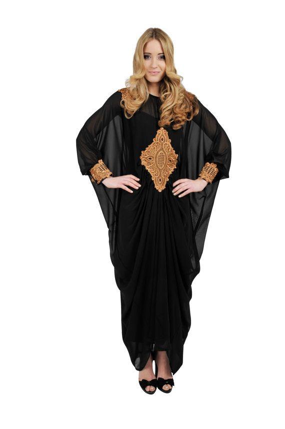 Black Long Sleeved Maxi Kaftan Dress, Kaftan Dress, Dubai Kaftan, Kaftans, long black dress, Caftan, Takchita on Etsy, $126.18 CAD