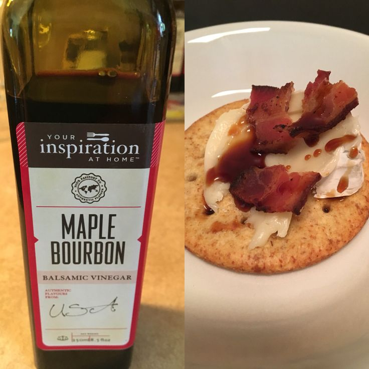 Easy appetizer! Brie, bacon, and Maple Bourbon balsamic vinegar on a whole wheat cracker. Sweet and salty, creamy and crunchy. WOW! #yiah #yourinspirationathome #maplebourbon  leahmckain.yourinspirationathome.com.au