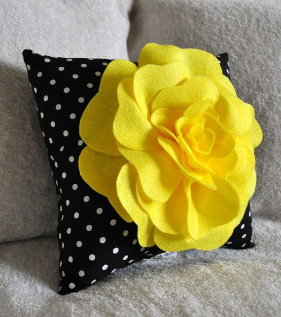 Yellow Black and White Polka Dot Flower Pillow by: bedbuggs on Etsy* I love styles like this!
