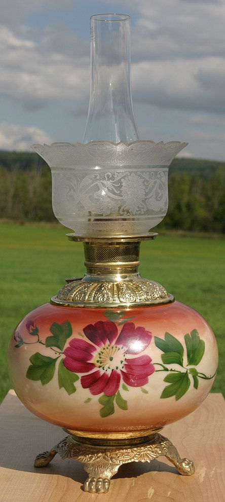 Antique rare 1800s All Lovely Hand Painted Roses Gone with the Wind Kerosene Oil Lamp Royal rare. $220.00, via Etsy.