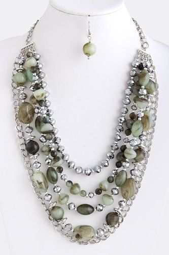 "Green And Silver Multi Layered Stone Jewel Necklace - Silver Collar Chain Link Drape Stone Jewel Necklace StarShine Jewelry. $24.70. Length approx 27"". Multi layered stone necklace. Lobster claw clasp with 3"" extender. Lead and nickel compliant. Simulated stone"